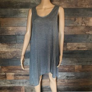 Eileen Fisher asymmetrical tunic gray black Sz L